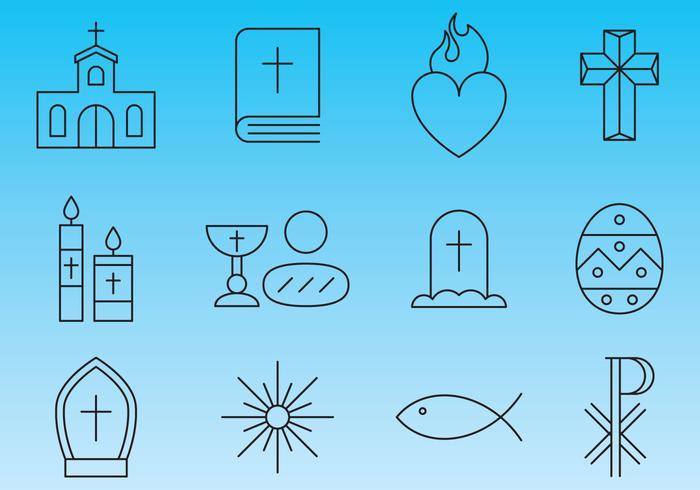 Vecteurs d'icônes de ligne de religion vecteur