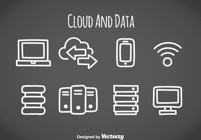 Icônes d'éléments de données et de nuages vecteur