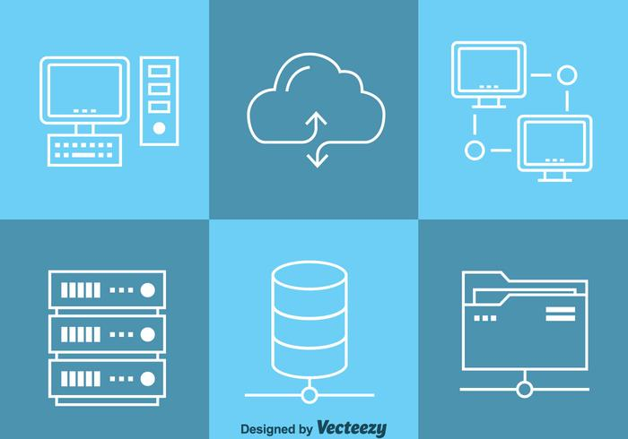 Vector d'icônes de calcul de données en nuage