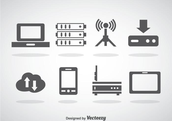 Icônes du paquet de serveur de données et de nuages vecteur