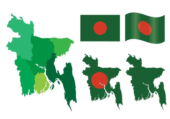 Ensemble vectoriel de carte et de drapeau de Bangladesh