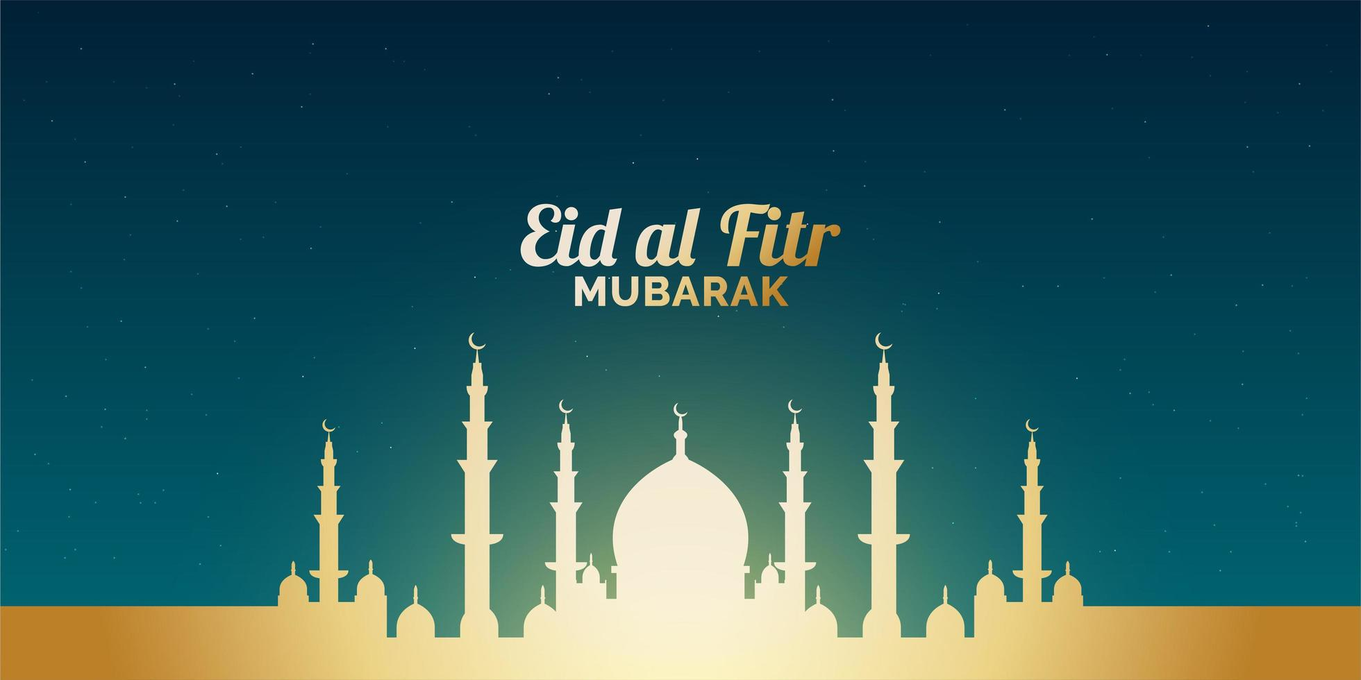 bannière eid al-fitr avec mosquée dorée vecteur