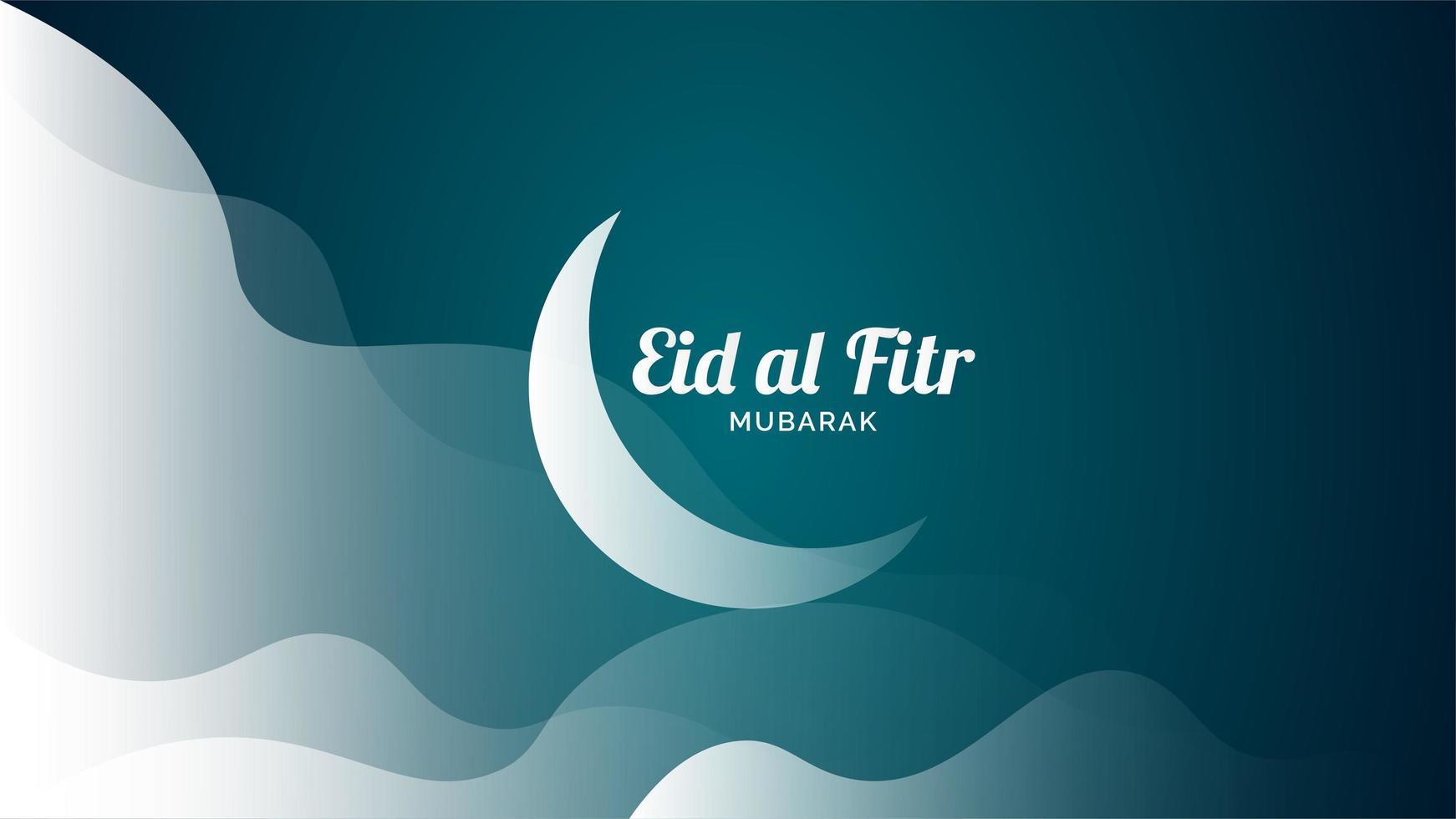 Eid al fitr salutation avec nuages et lune vecteur