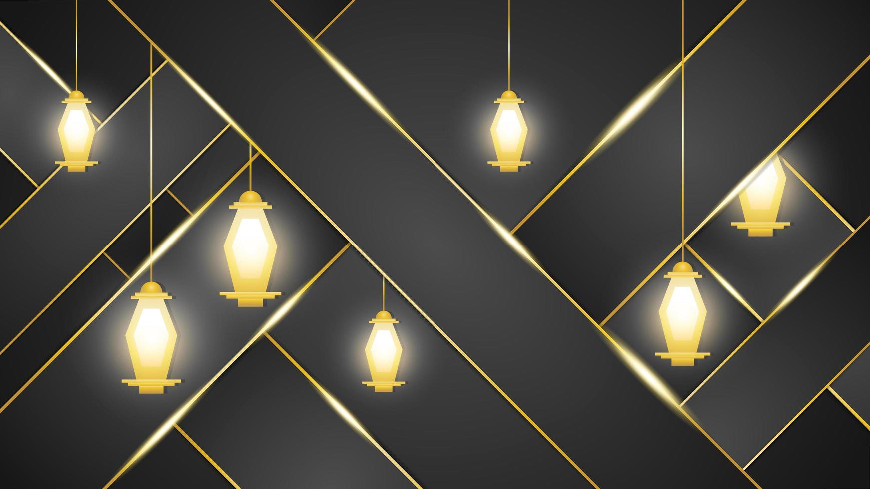 fond sombre avec des lanternes arabes dorées vecteur