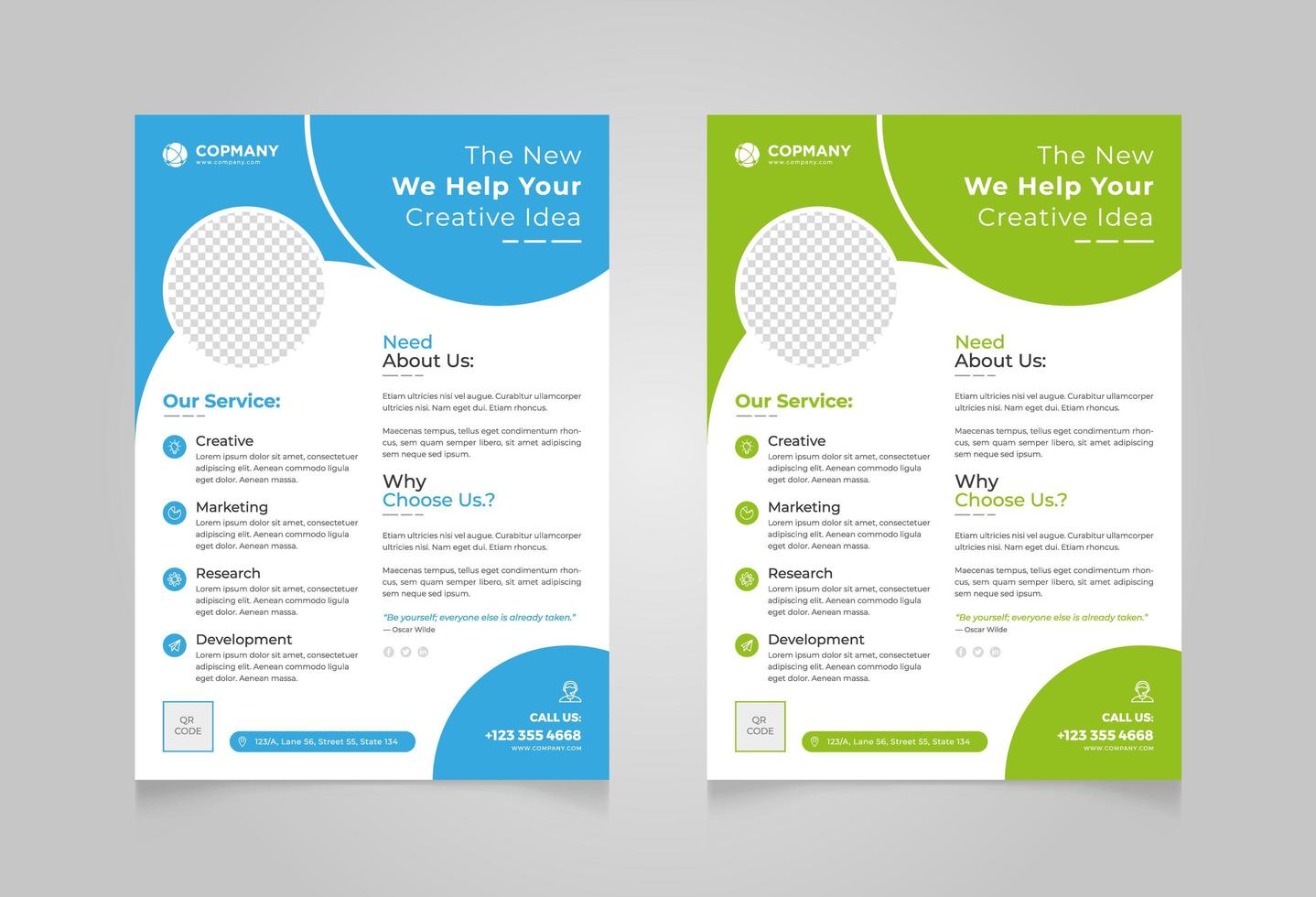 ensemble de conception de flyer d'entreprise créative bleu vert vecteur