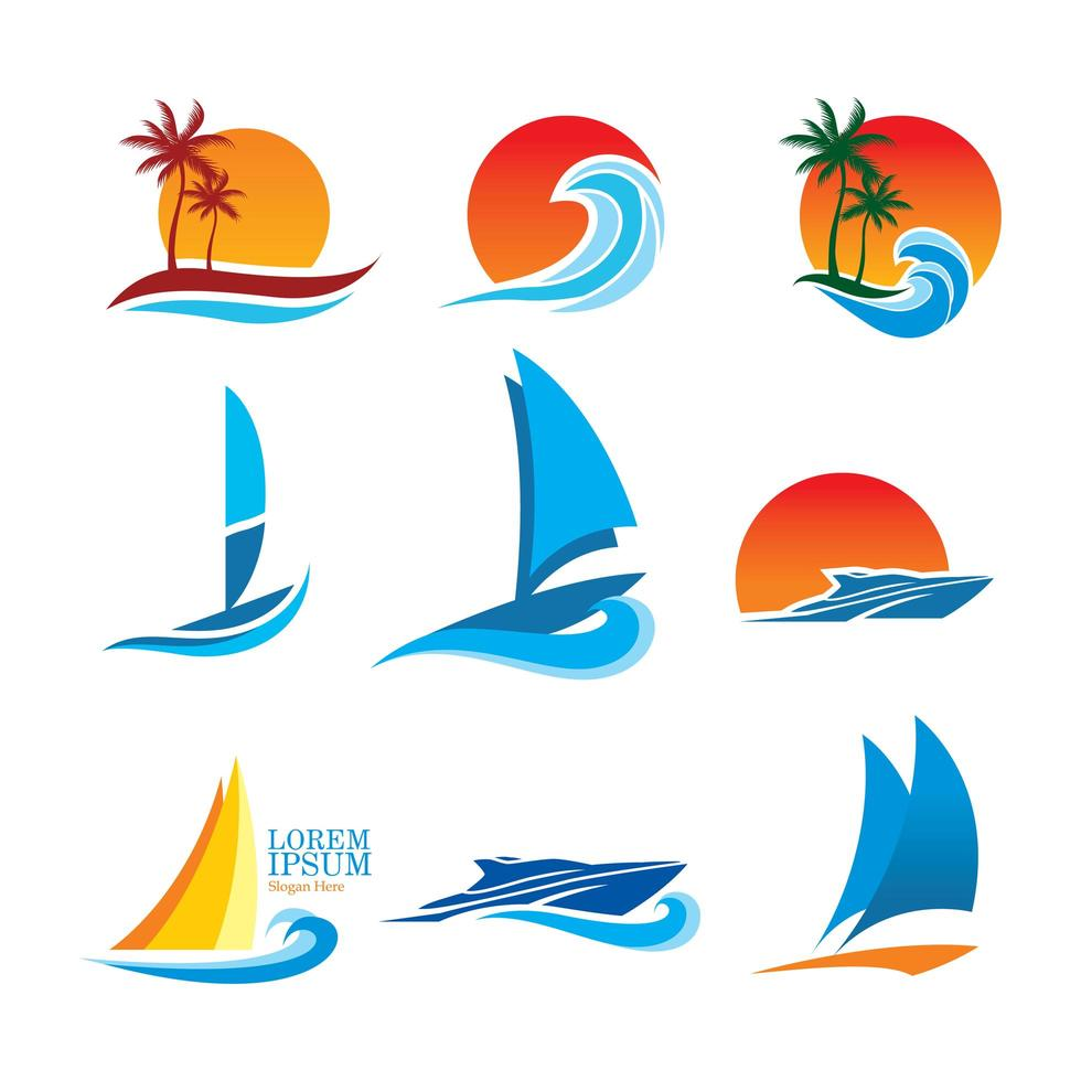 collection de logos sur le thème de l'océan vecteur