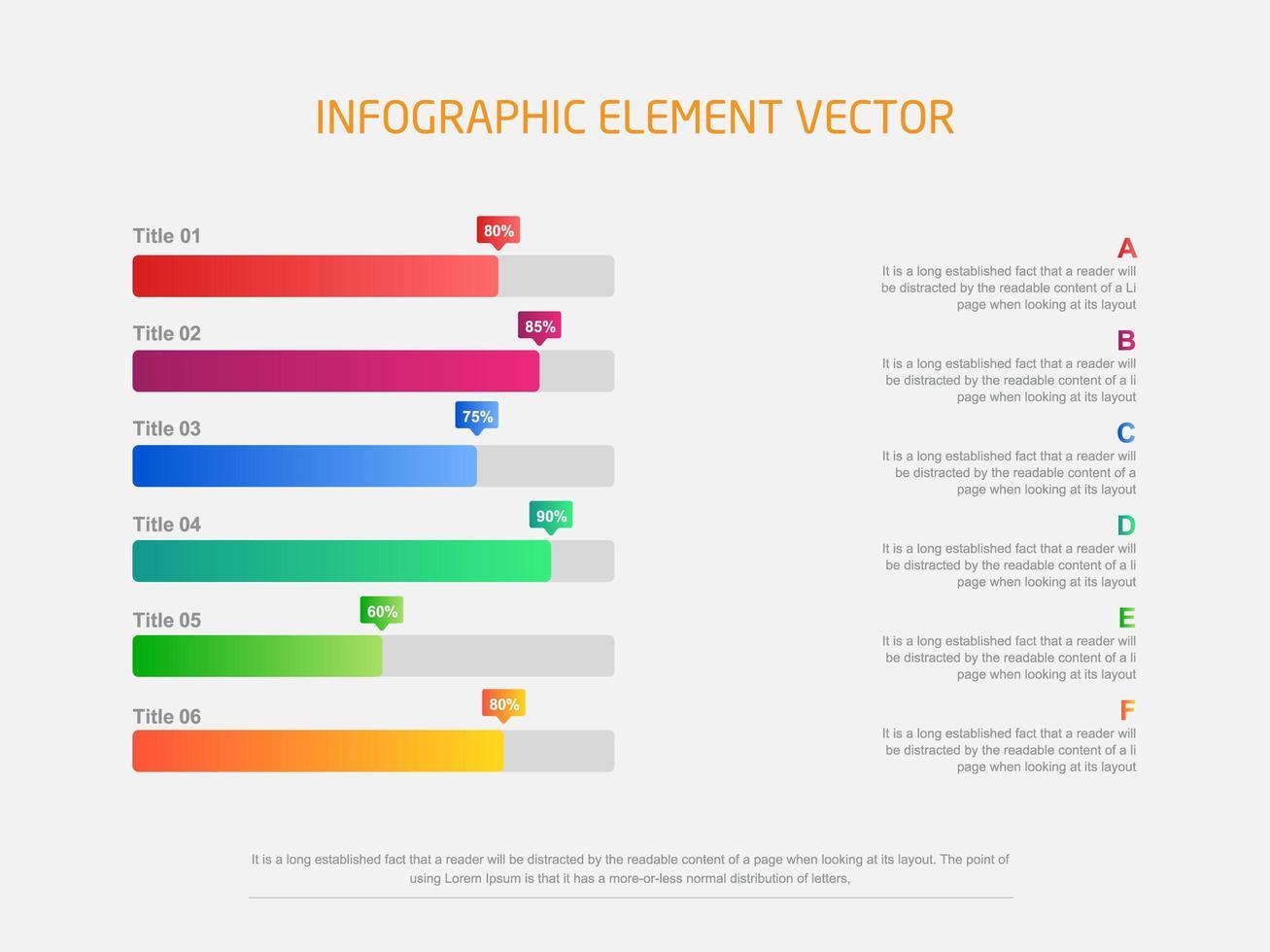 infographie graphique à barres colorées horizontales modernes vecteur