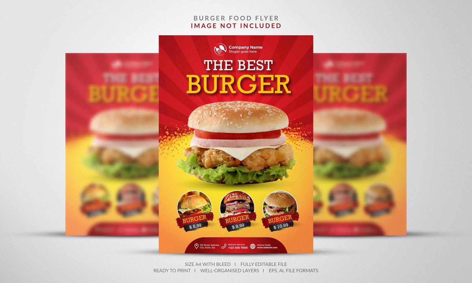flyer burger en orange et rouge vecteur