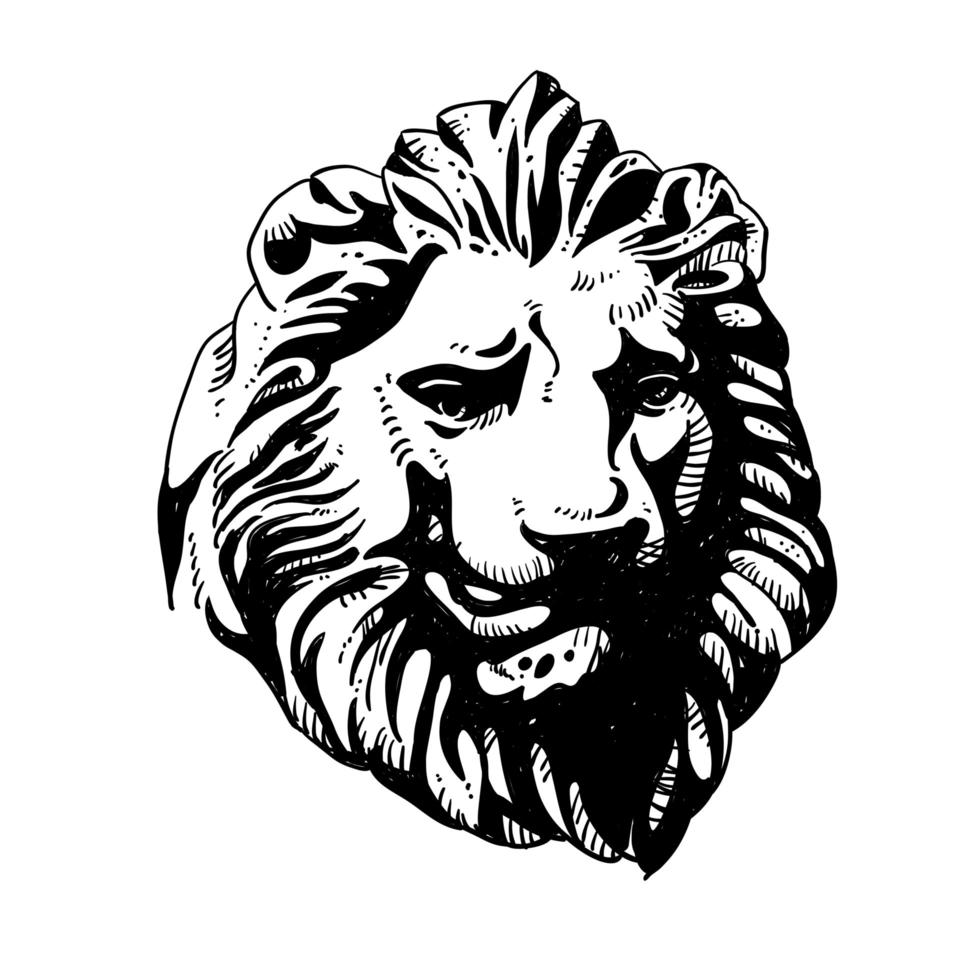 conception de dessin de logo tête de lion vecteur
