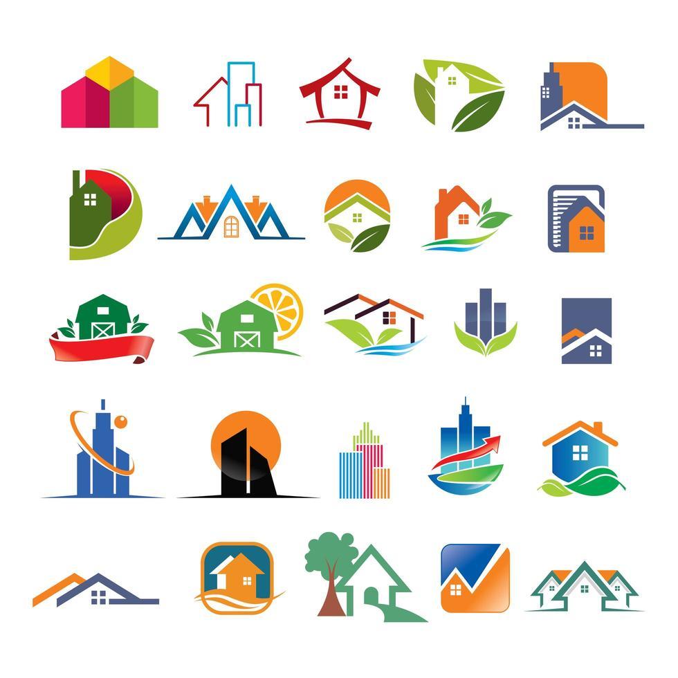 collection de logos immobiliers et immobiliers vecteur
