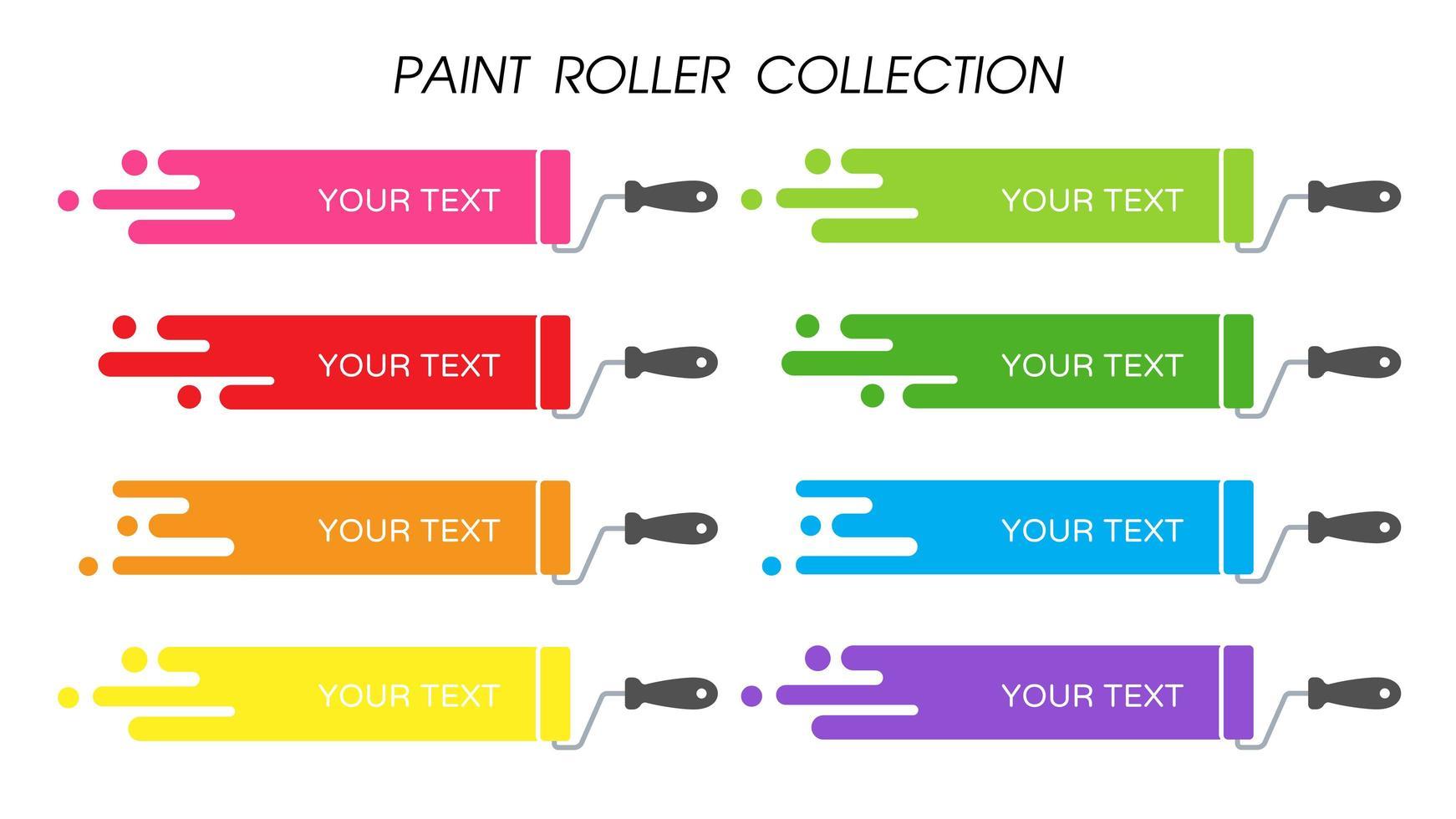 ensemble de rouleaux de peinture colorée vecteur