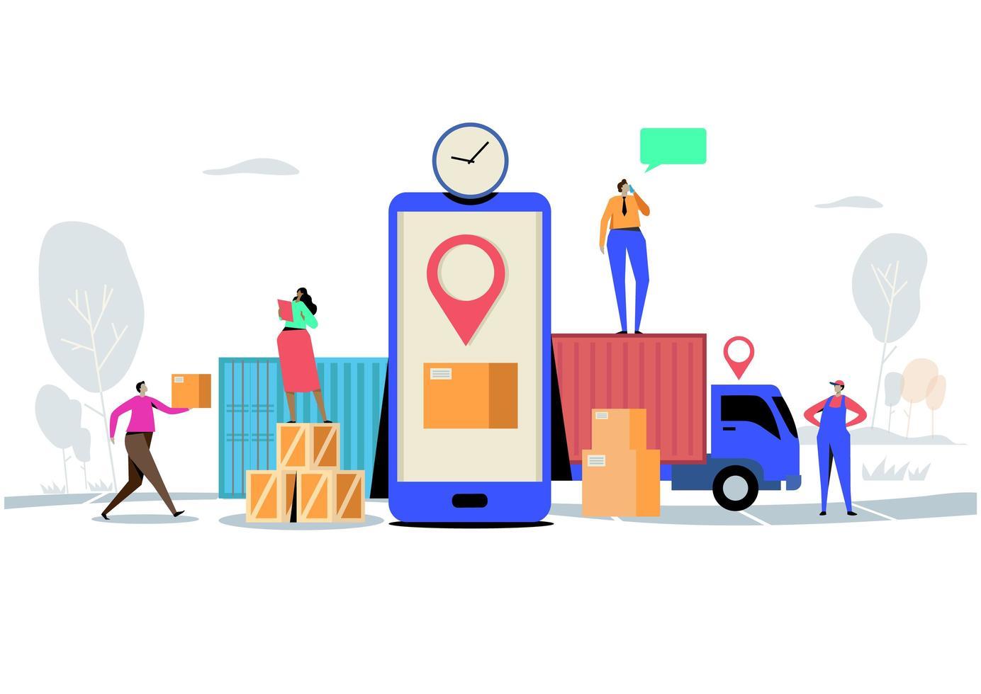 concept de livraison en ligne avec des personnages livrant des boîtes vecteur