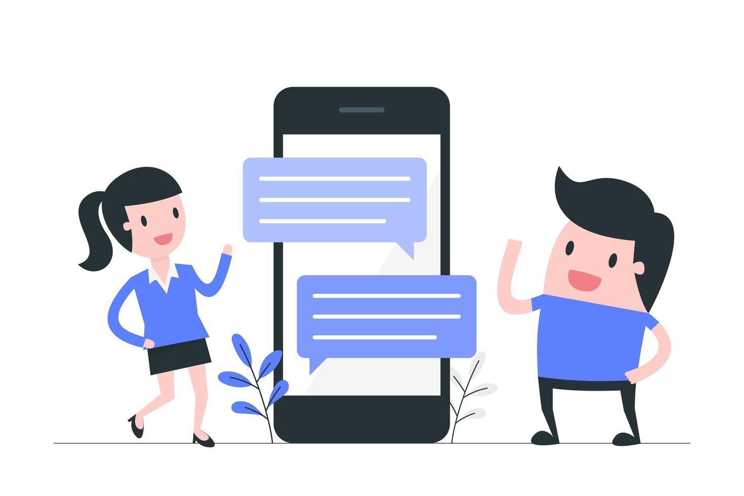 communication par SMS sur les réseaux sociaux vecteur