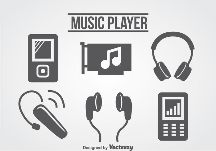 Vecteur d'icônes de lecteur de musique