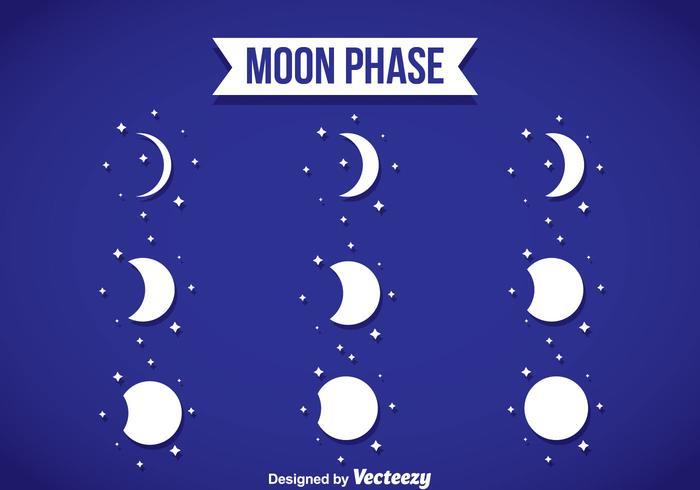 Phase de lune icônes blanches vecteur