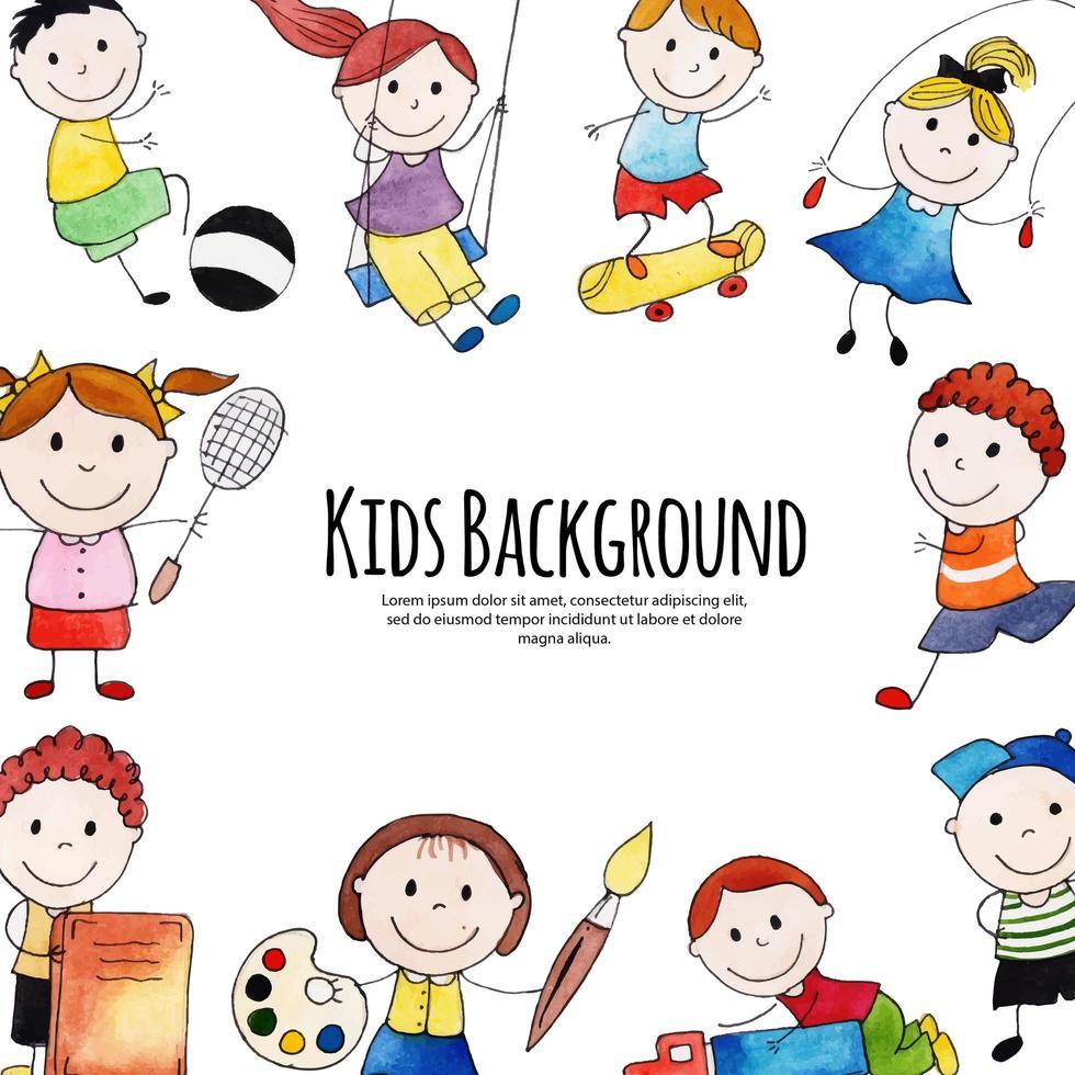 Retour à l'école des enfants heureux avec cadre copyspace vecteur