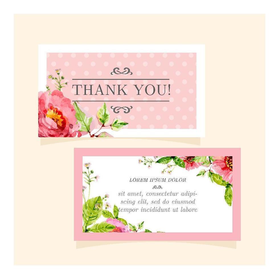 jolie carte '' merci '' florale vecteur