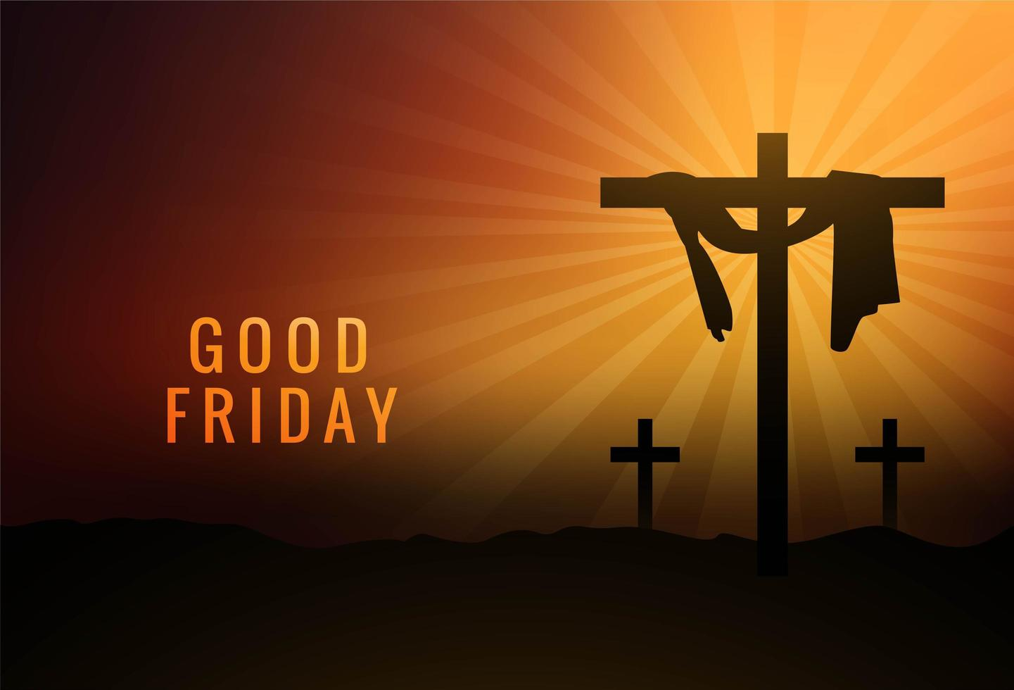 bon vendredi tissu accroché sur croix sur fond de coucher de soleil vecteur