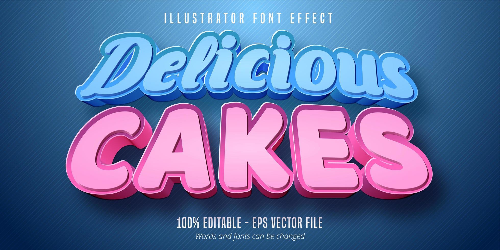 texte de délicieux gâteaux, effet de police modifiable de style pâtisserie 3d vecteur