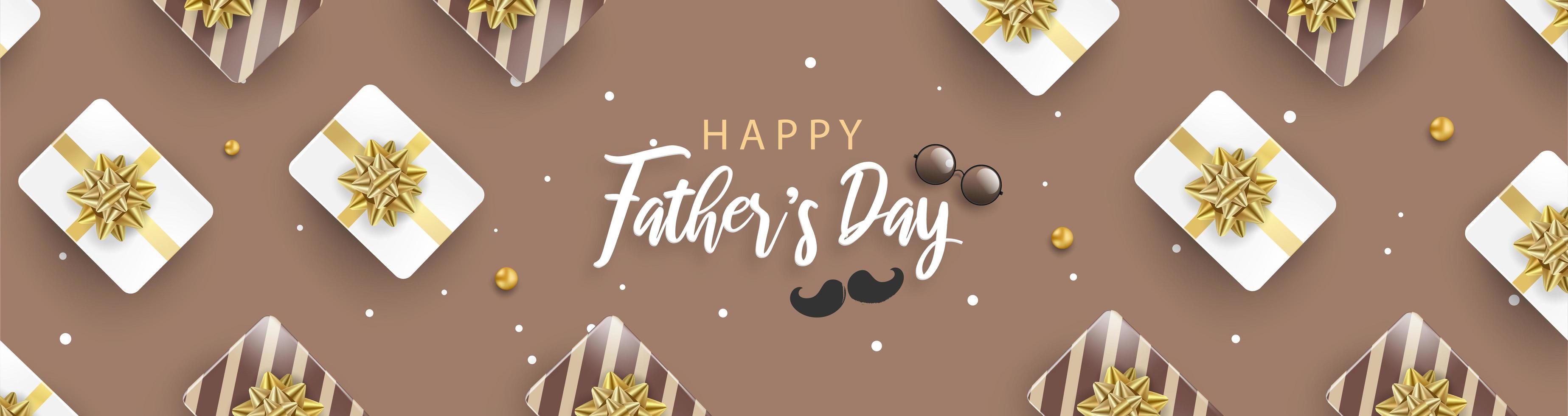 affiche de la fête des pères heureux bannière brune vecteur