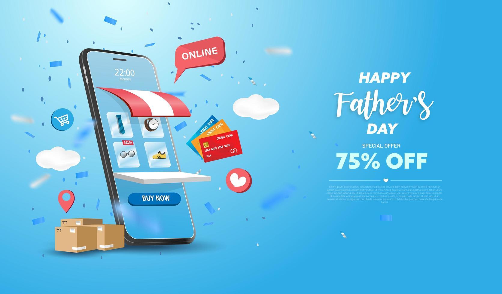 conception de téléphone intelligent de bannière de vente de fête des pères heureux vecteur