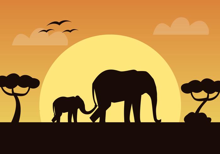 Vecteur libre d'éléphants africains