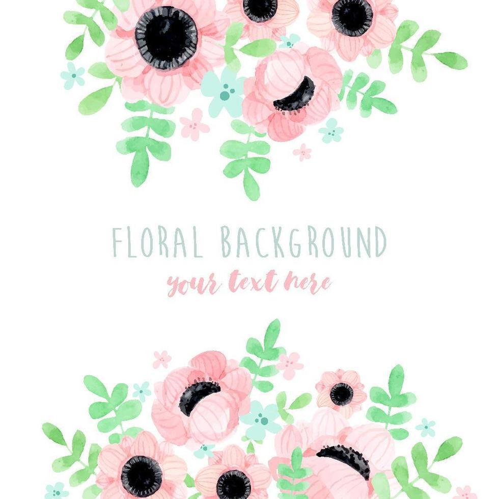 fond de bouquet floral pavot rose vecteur