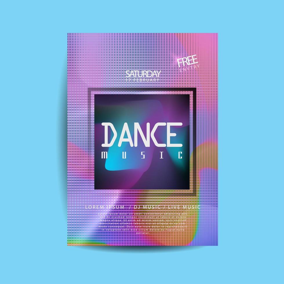 flyer de musique de danse grille colorée vecteur