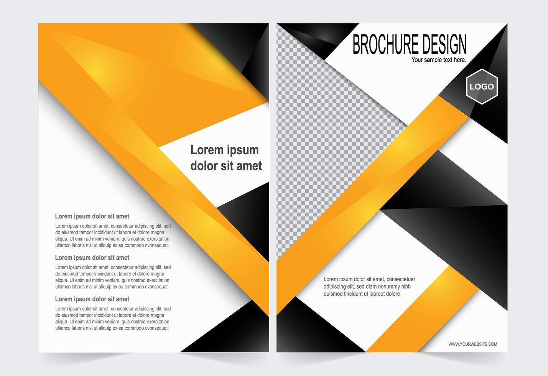 couverture de brochure orange et noir vecteur