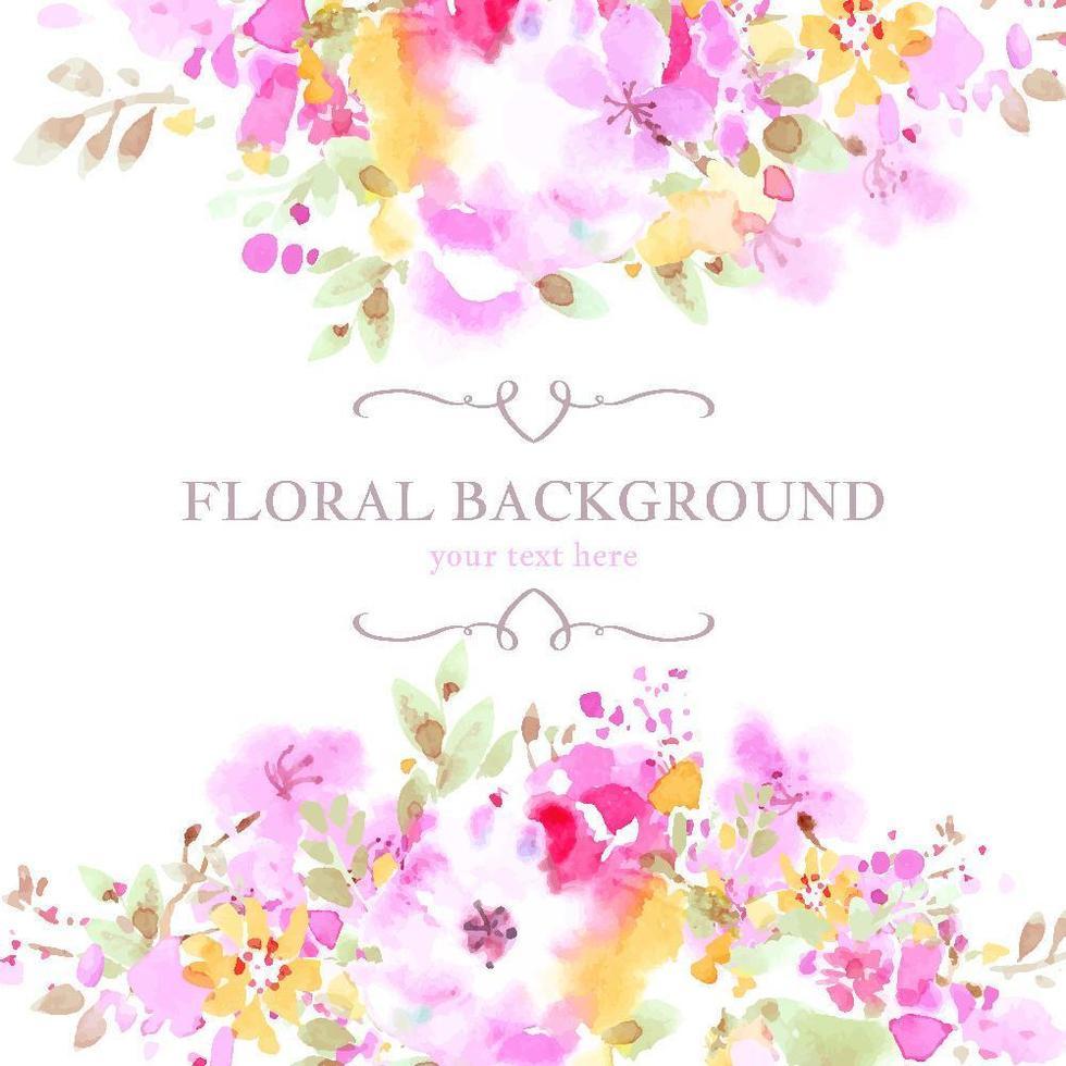 fond aquarelle floral coloré vecteur