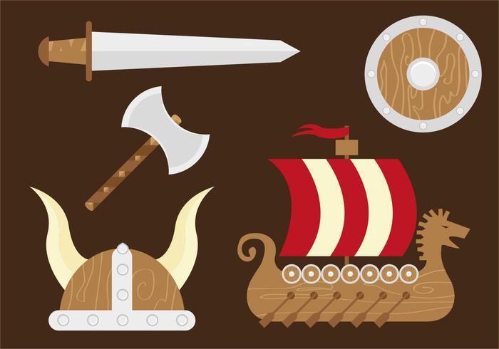 Casque Viking Ship Sword Hatchet Shield Helmet vecteur