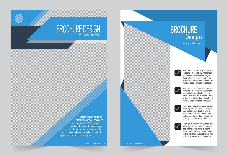 couverture d'information brochure bleue vecteur