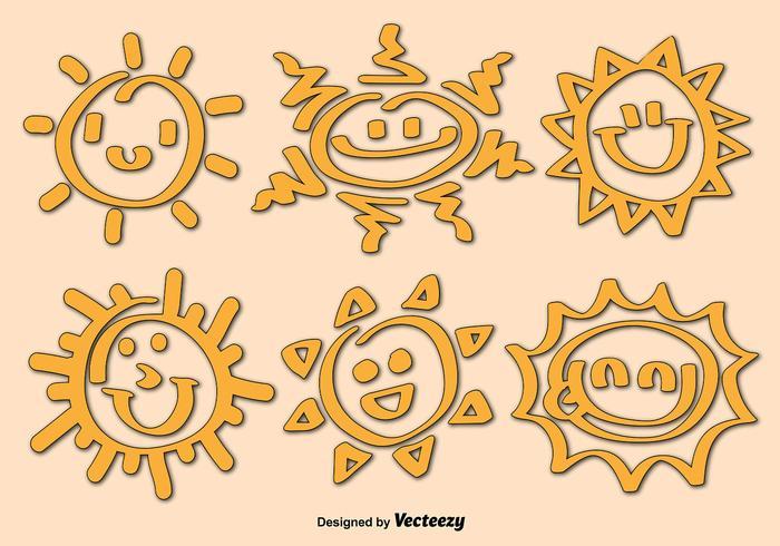 Vecteurs d'icônes de dessin animé de soleil vecteur