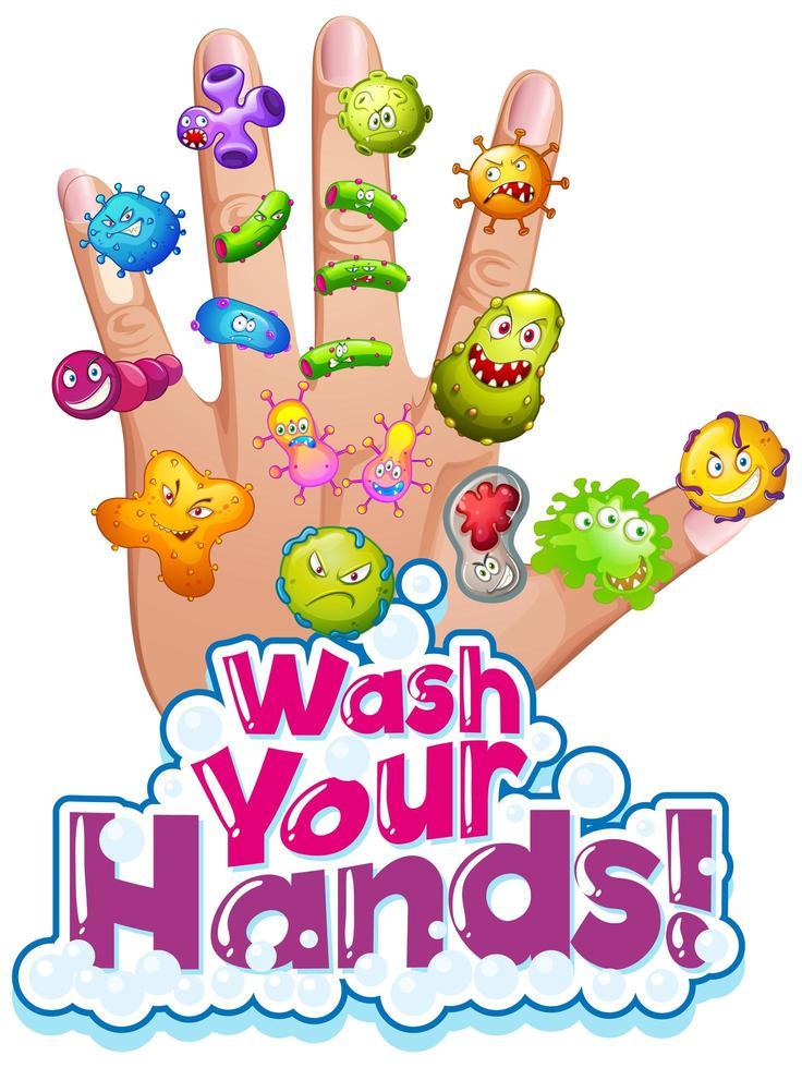 affiche de lavage des mains avec des cellules virales vecteur