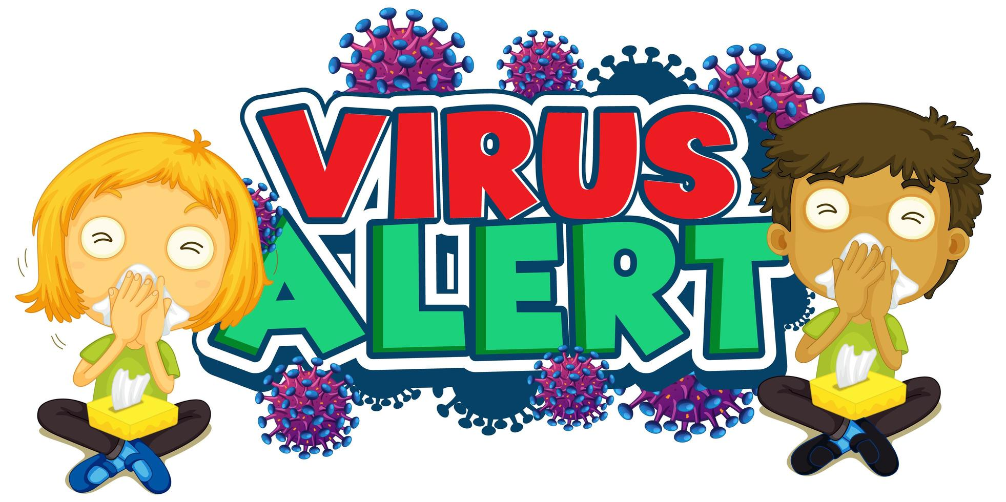 conception de polices d'alerte de virus avec des enfants malades vecteur