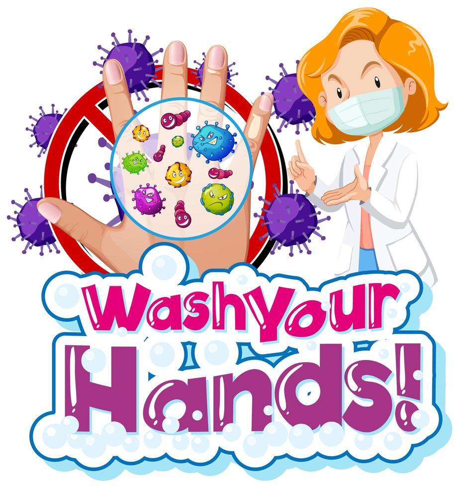 thème coronavirus laver vos mains signe vecteur