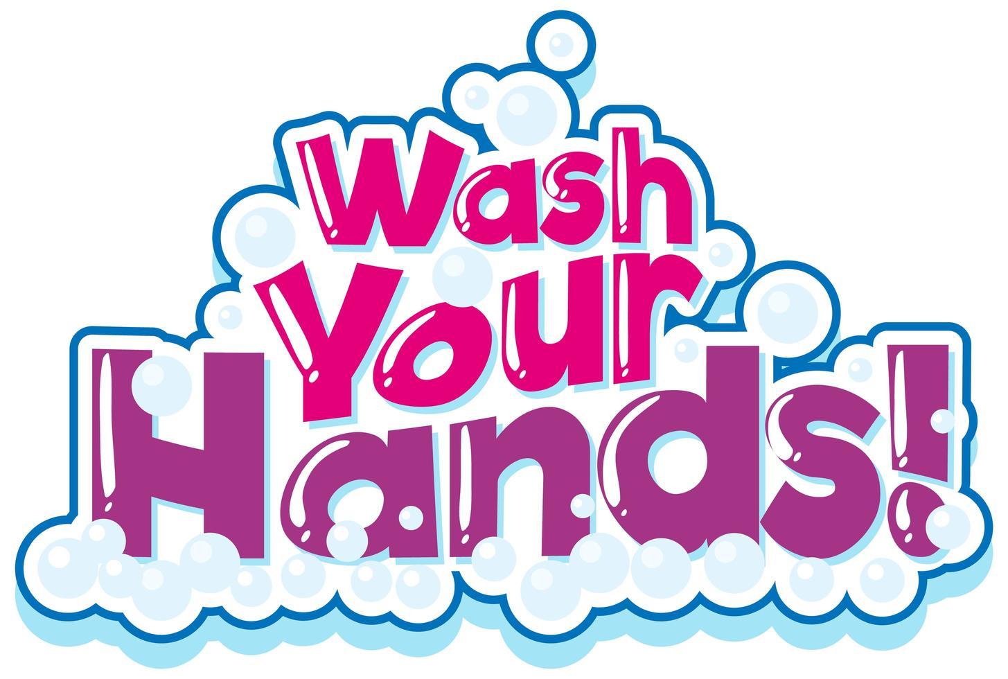 lavez vos mains en rose avec des bulles vecteur
