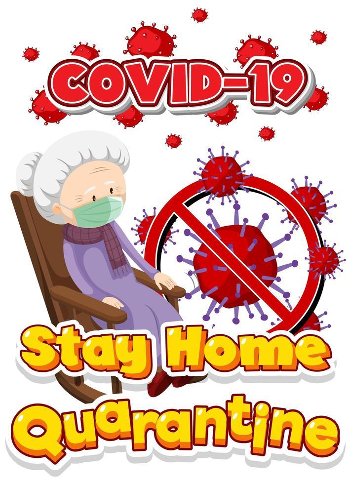 affiche de séjour à la maison covid-19 avec une femme âgée vecteur