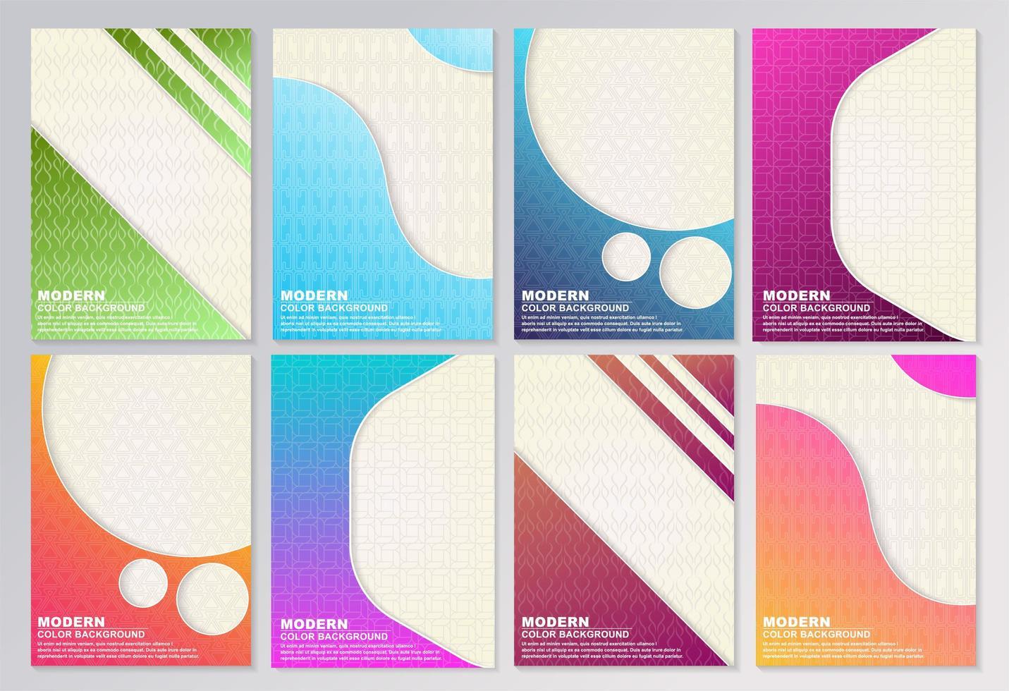 ensemble de couverture de forme et de motif abstrait dégradé lumineux vecteur