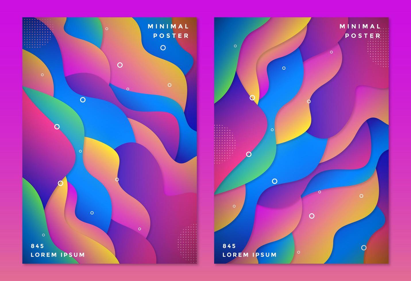 ensemble de couverture de formes ondulées en couches de couleur dégradée vecteur
