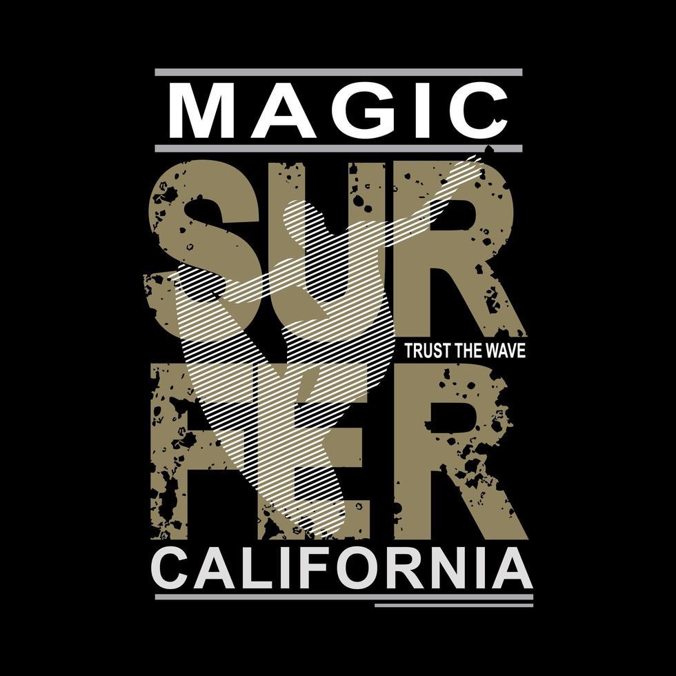 graphique de chemise de plage de surfeur magique californie vecteur