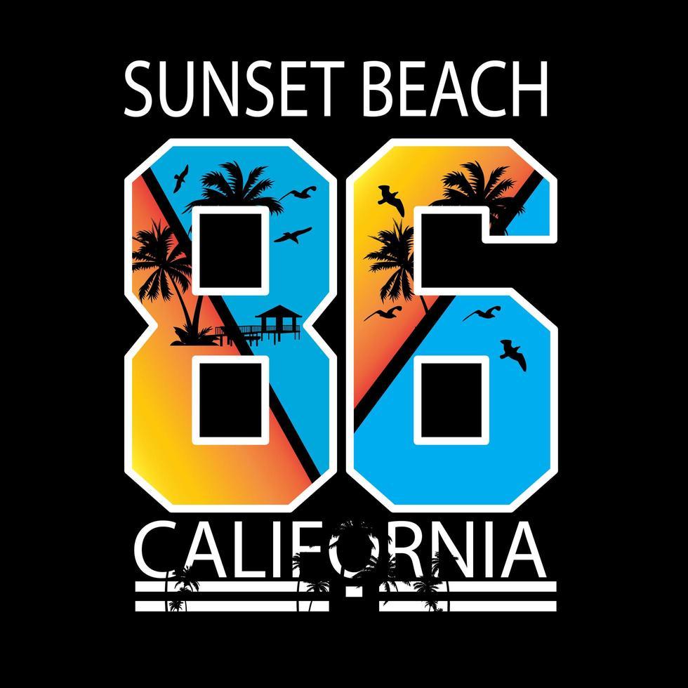 Scène de plage coucher de soleil en Californie en chiffres pour t-shirt vecteur
