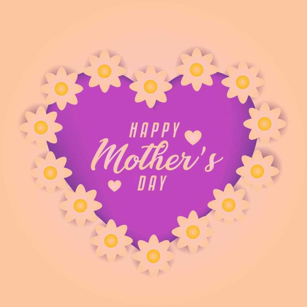carte de fête des mères avec des fleurs autour de coeur violet vecteur