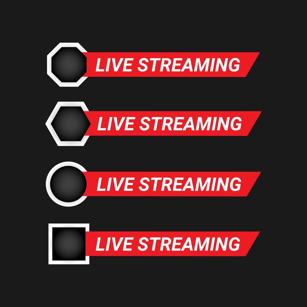 ensemble d'éléments de conception de streaming en direct vecteur