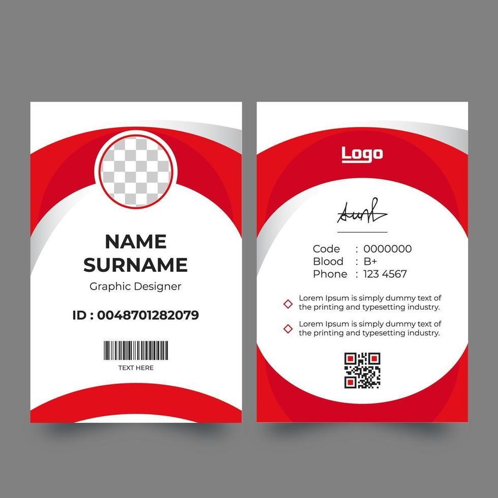 carte d'identité de conception de cercle rouge et blanc vecteur