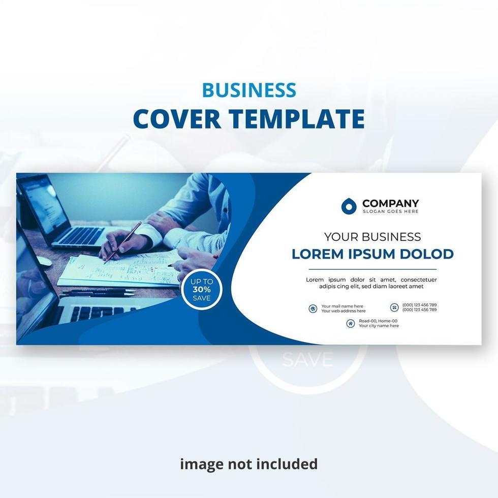 modèle de couverture de médias sociaux d'entreprise bleu et blanc vecteur