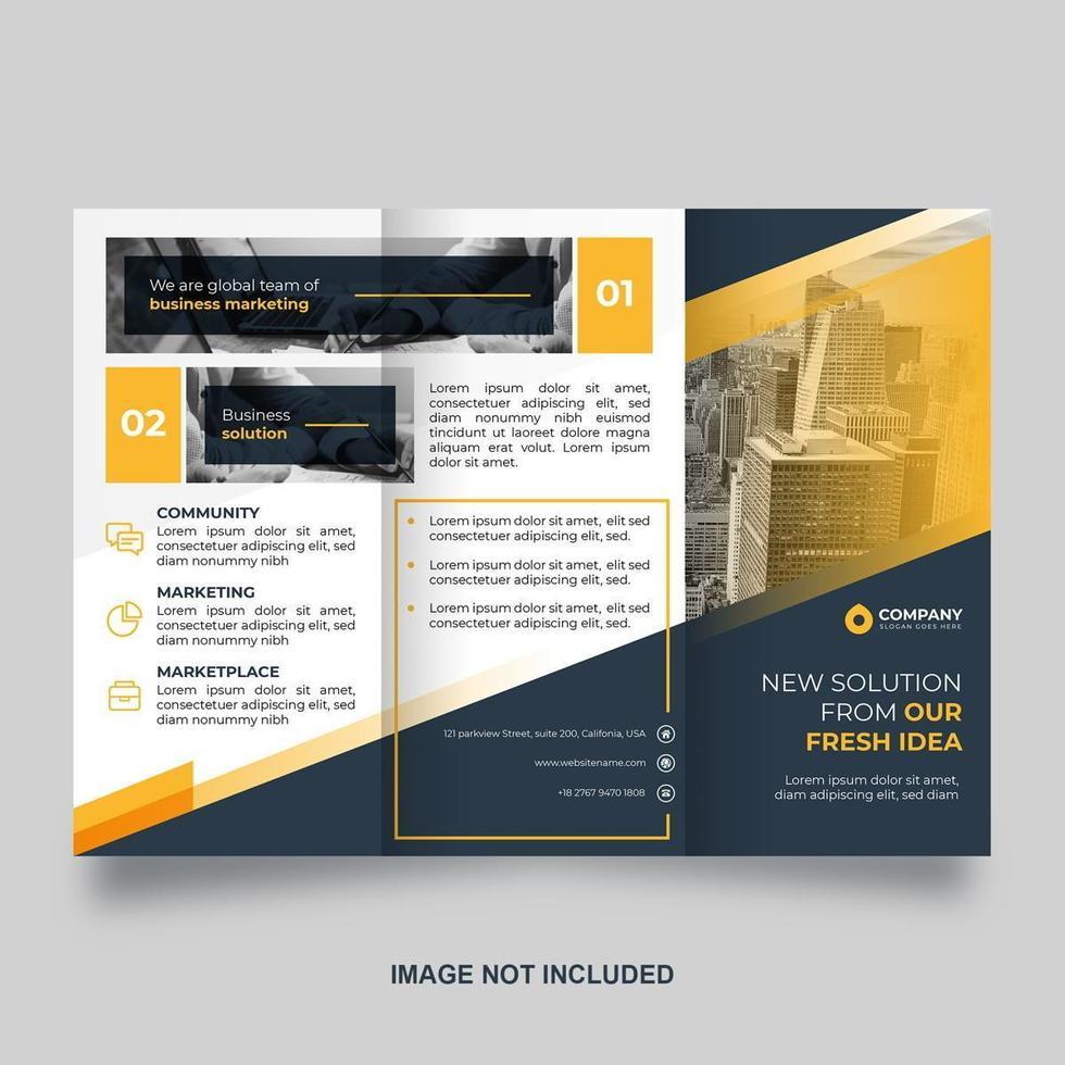 modèle de brochure à trois volets bleu avec des accents jaunes vecteur