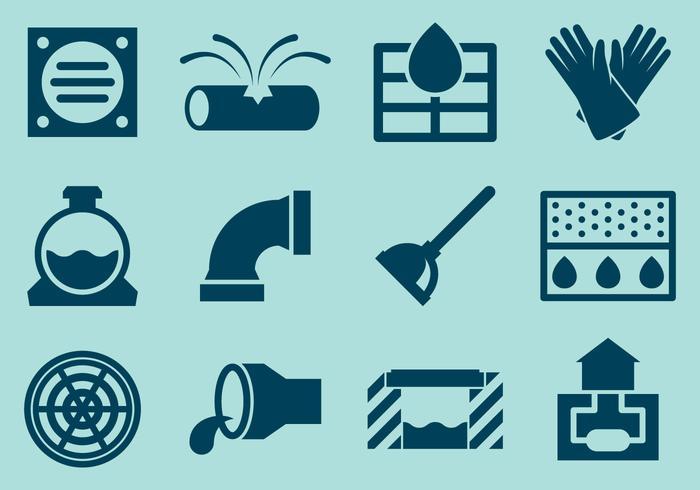 Vecteurs d'icônes du système d'égout vecteur