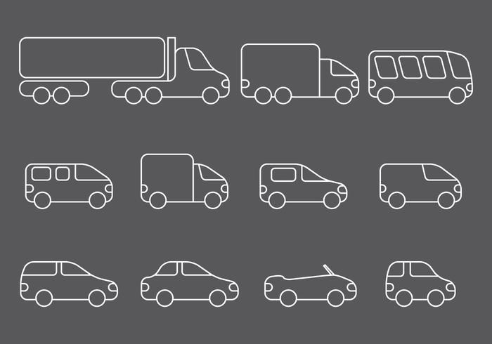 Ligne d'icônes de véhicule vecteur