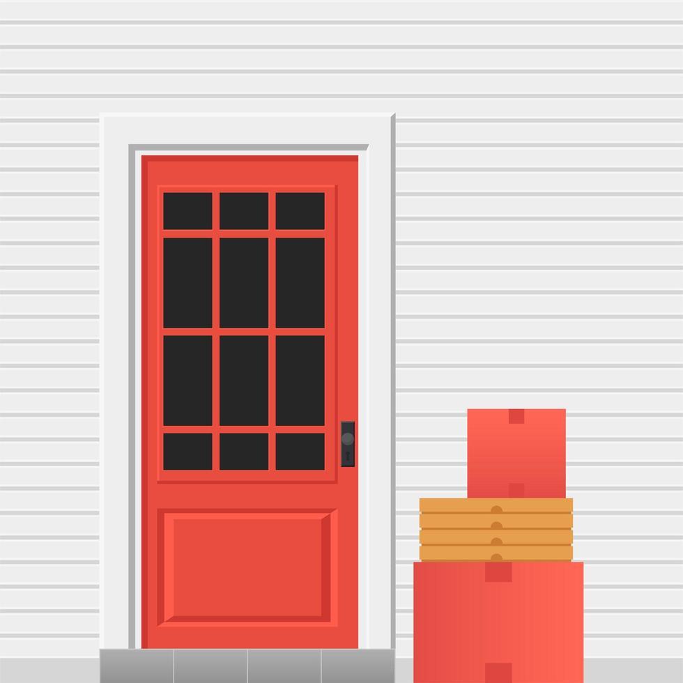 porte d'entrée avec colis pour livraison sans contact. ordre laissé près du service de porte vecteur